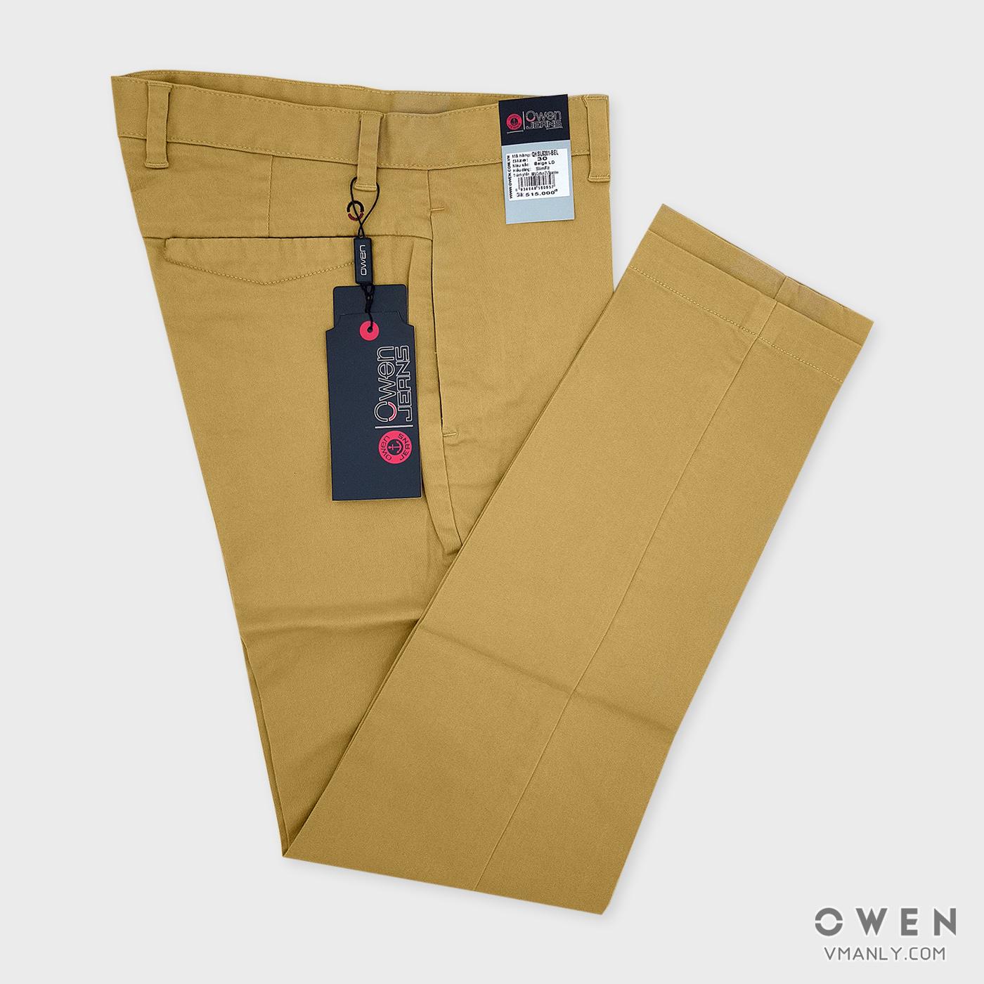 Quần kaki Owen không li slimfit màu be vàng QKSL6201