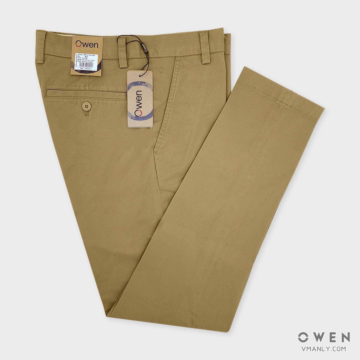 Quần kaki Owen không li slimfit màu be vàng QKSL67346