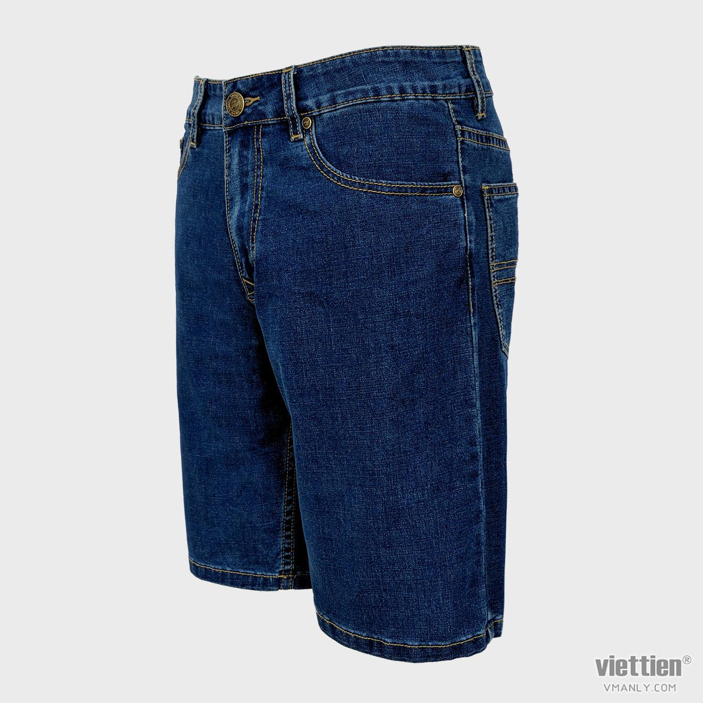 Quần short bò nam Việt Tiến màu xanh 6N8304BH4/QSJ