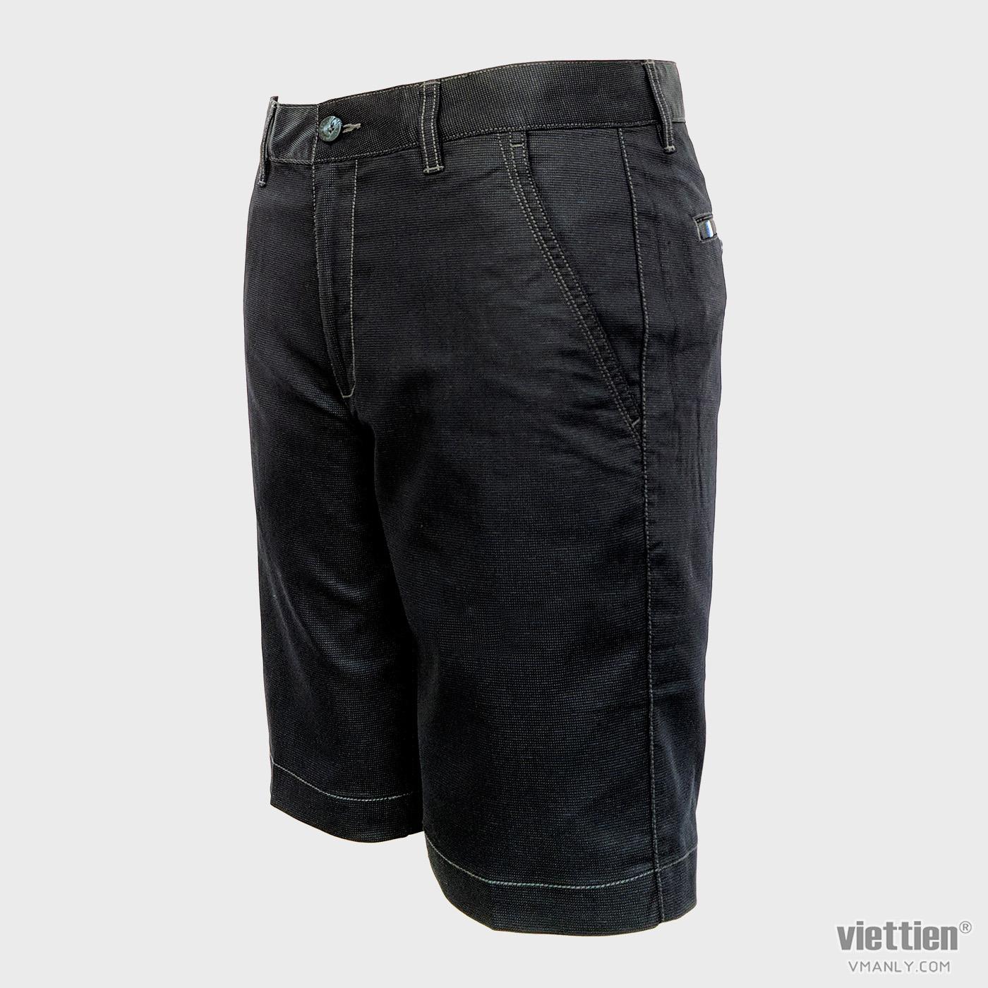Quần short kaki nam Việt Tiến màu đen chấm bi 6M8001BT4/QSKF