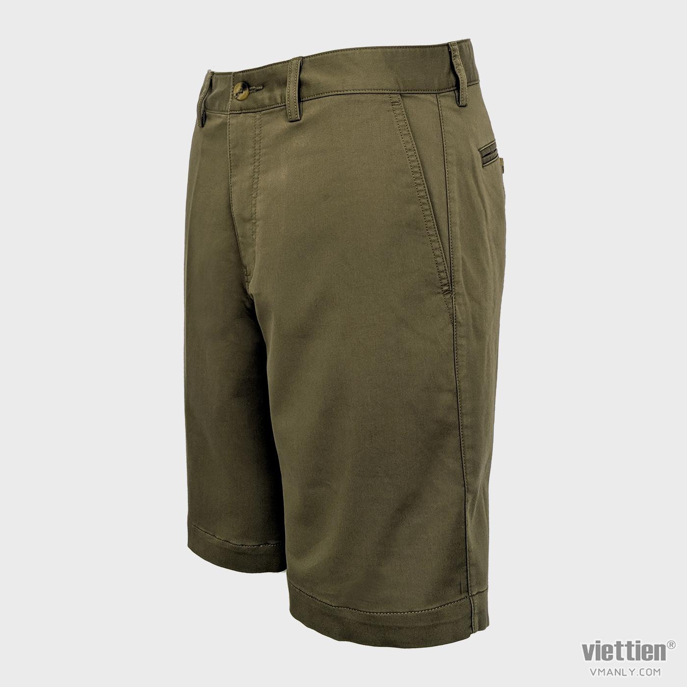 Quần short kaki nam Việt Tiến màu vàng nhạt 6N8032BT4/QSK