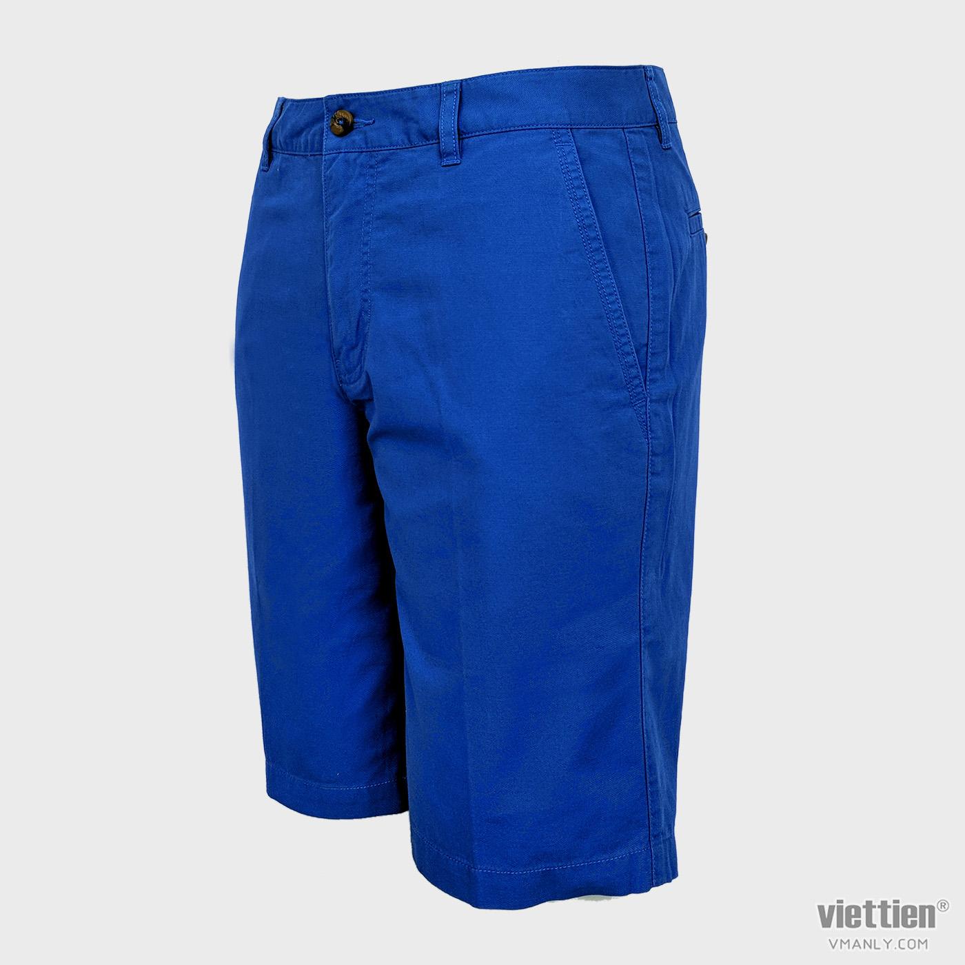 Quần short kaki nam Việt Tiến màu xanh blue 6J8119BT4/QSKF