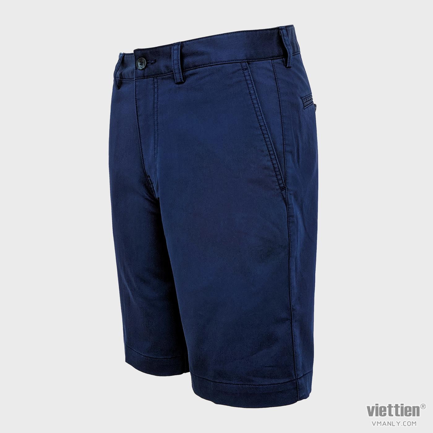 Quần short kaki nam Việt Tiến màu xanh blue 6N8035BT4/QSK