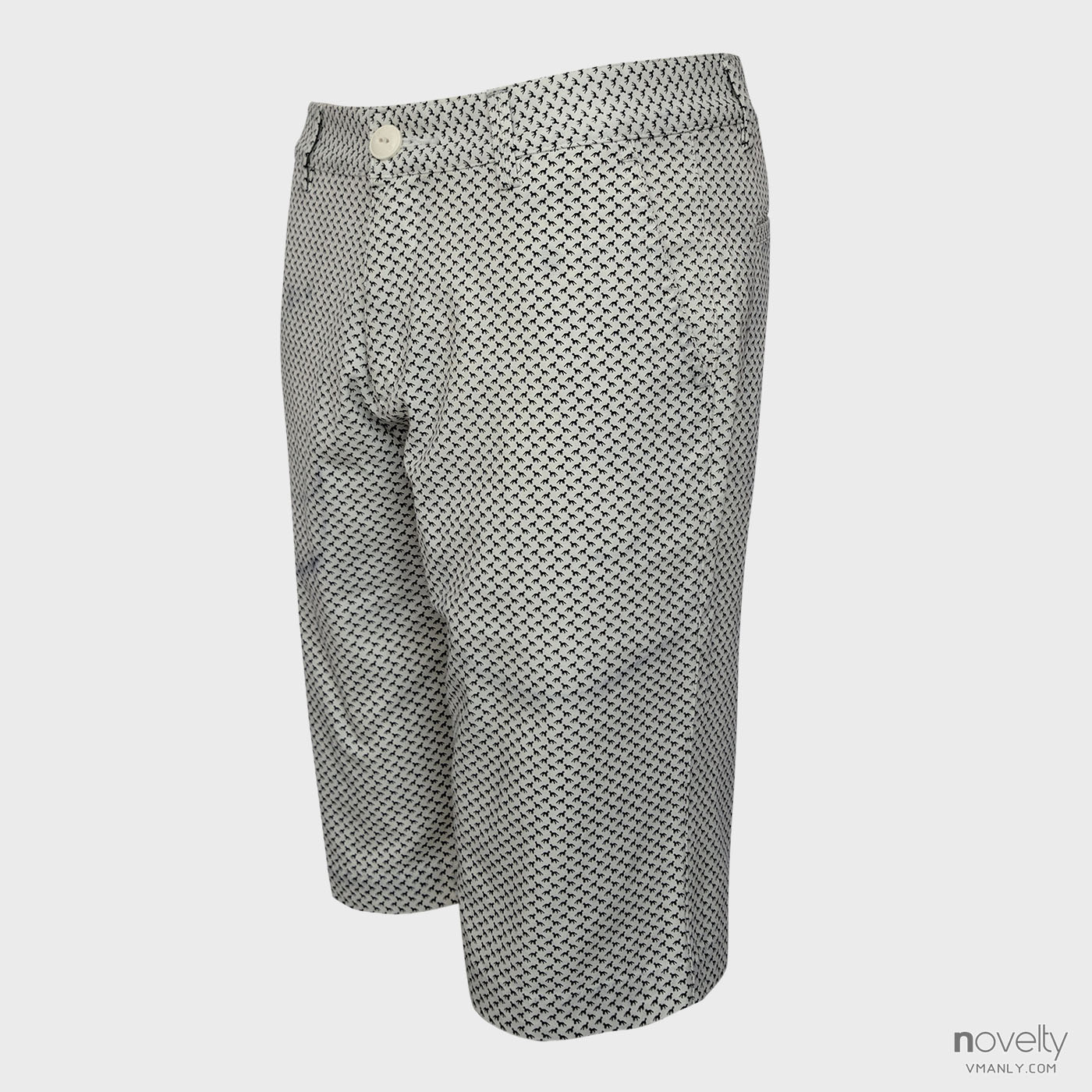 Quần short kaki nam Novelty màu trắng hoa văn NSKMINNCSR162022