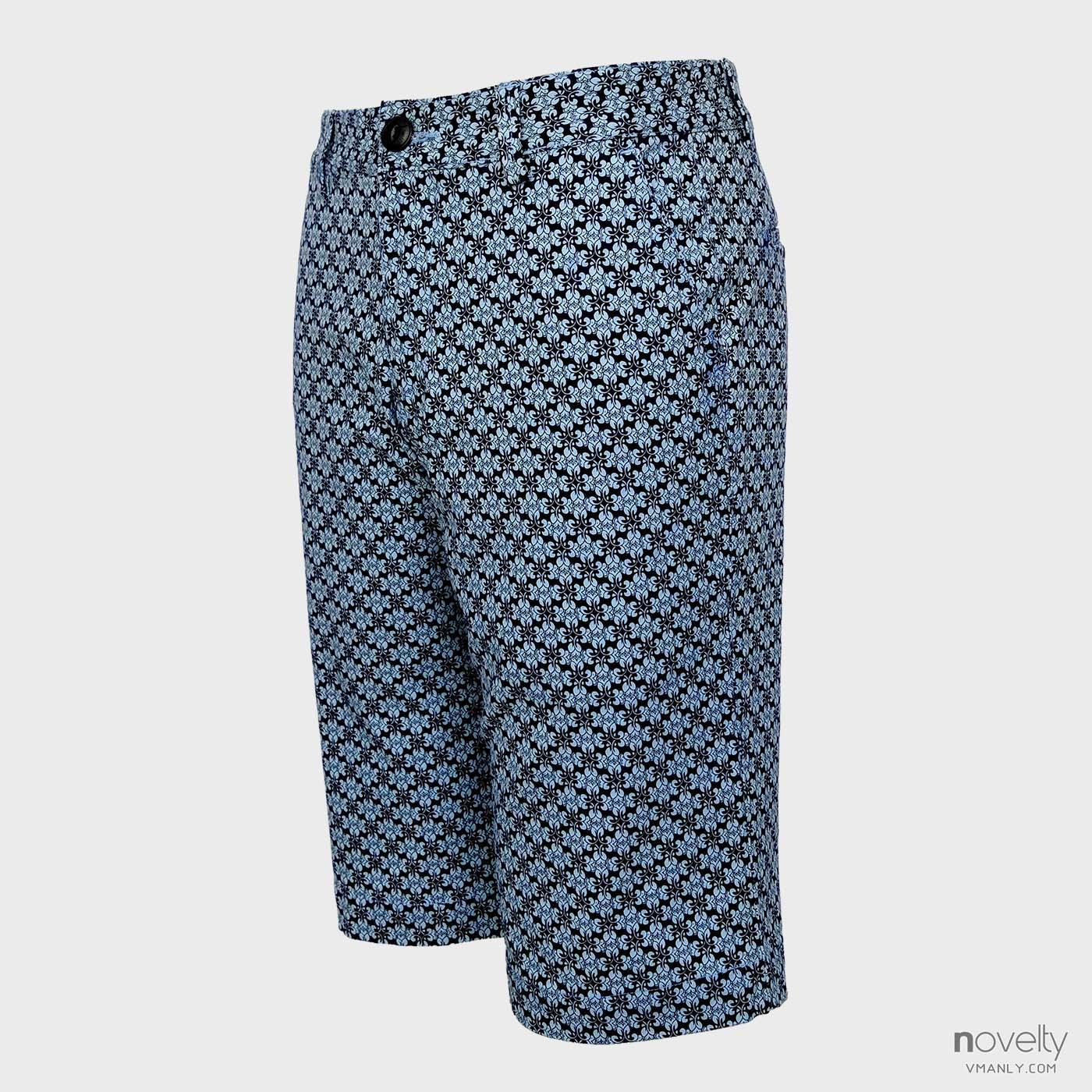 Quần short kaki nam Novelty màu xanh đen hoa văn NSKMINNCR162025