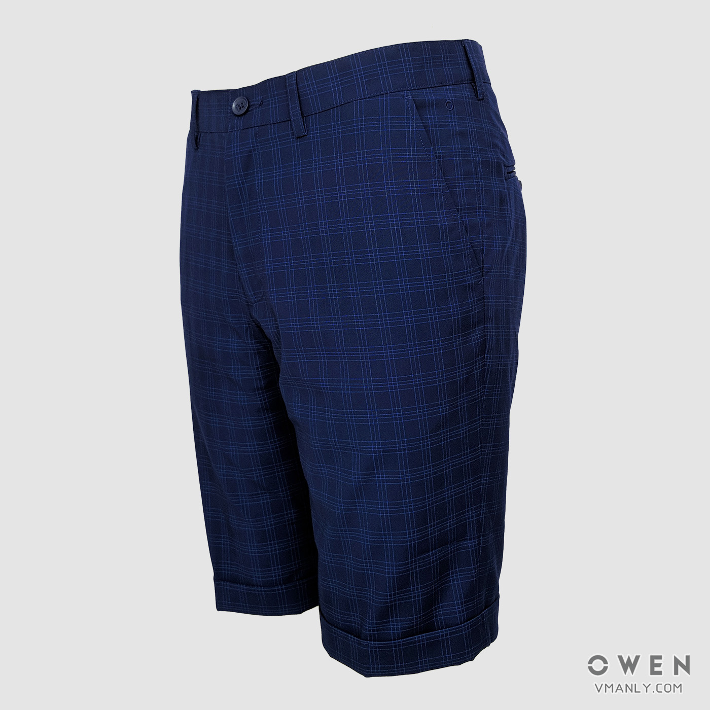 Quần short nam Owen kẻ sọc ca rô xanh SV90571