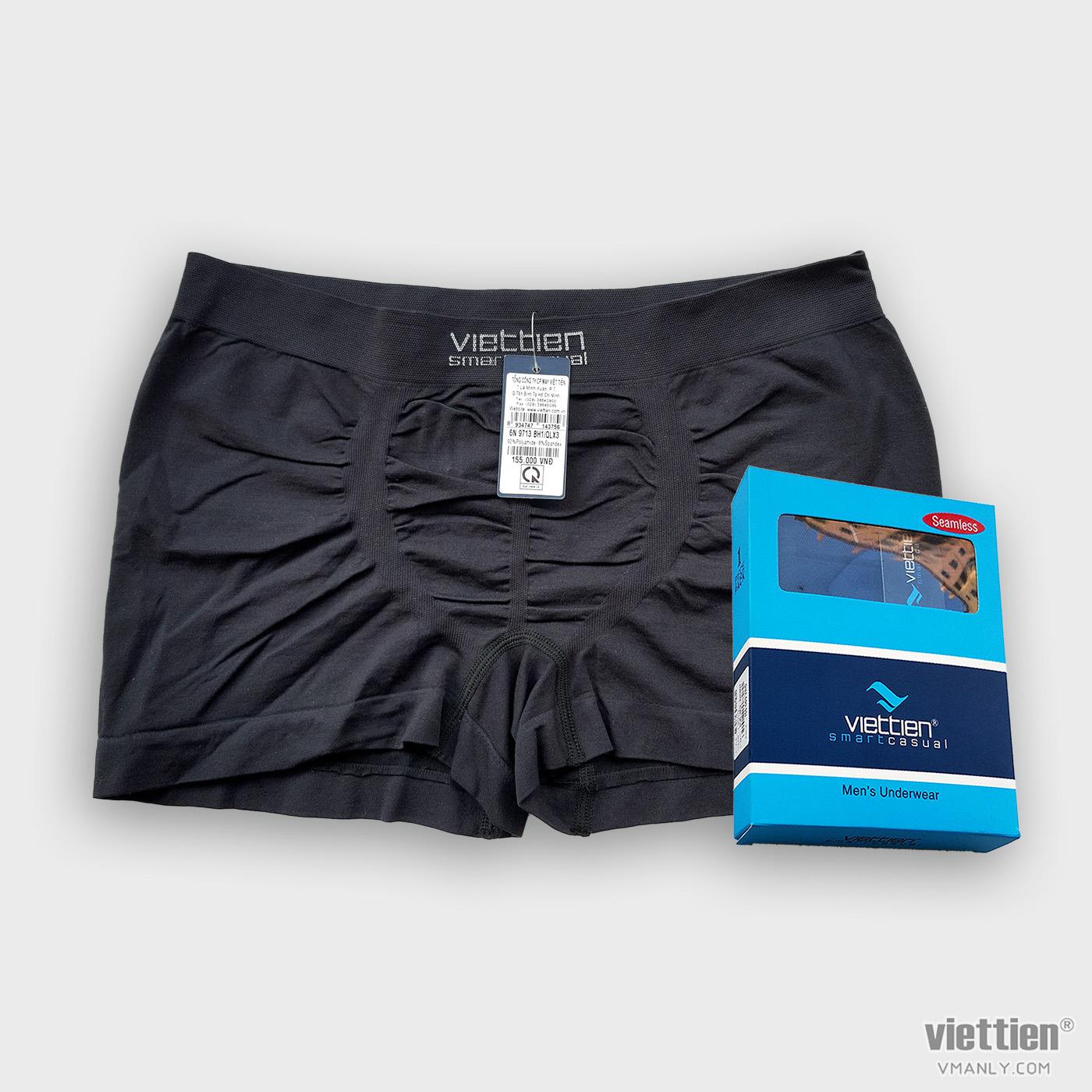 Quần sịp đùi, quần lót nam Việt Tiến màu đen 6N9713BH1/QLX3
