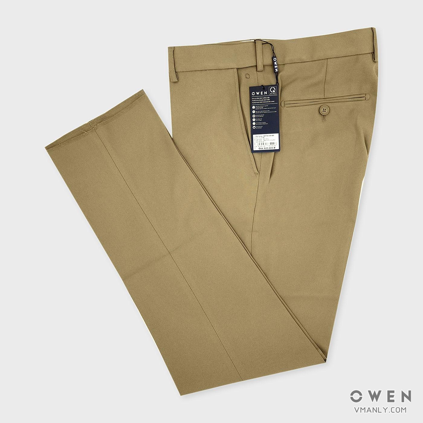 Quần tây Owen không li regular fit màu be QR91259