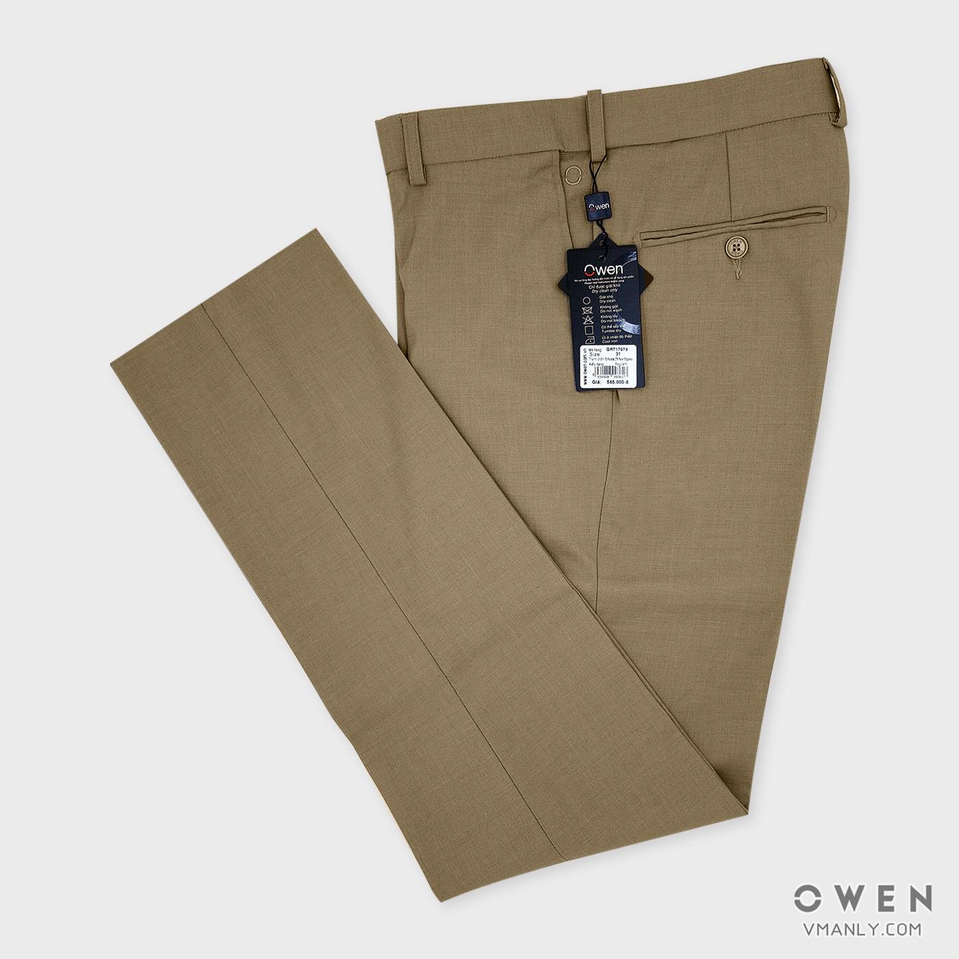 Quần tây Owen không li regular-fit màu be QRT17978