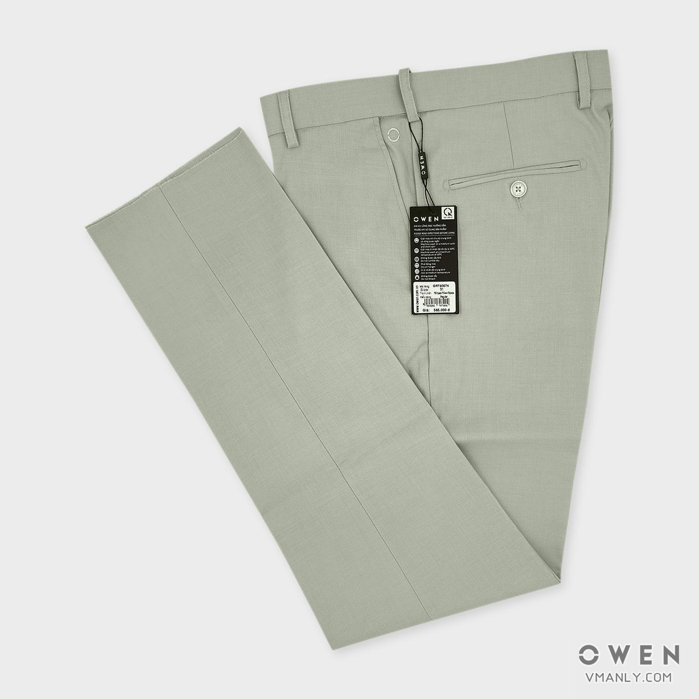 Quần tây Owen không li regular màu kem QRT80574