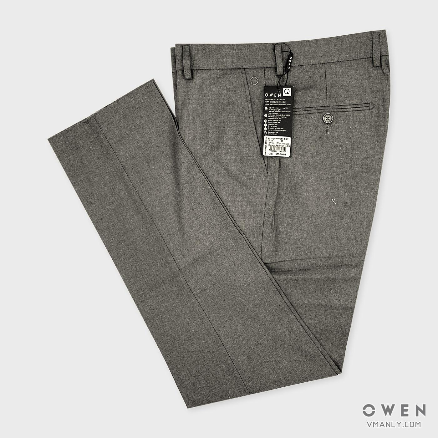 Quần tây Owen không li regular màu xám QR91361