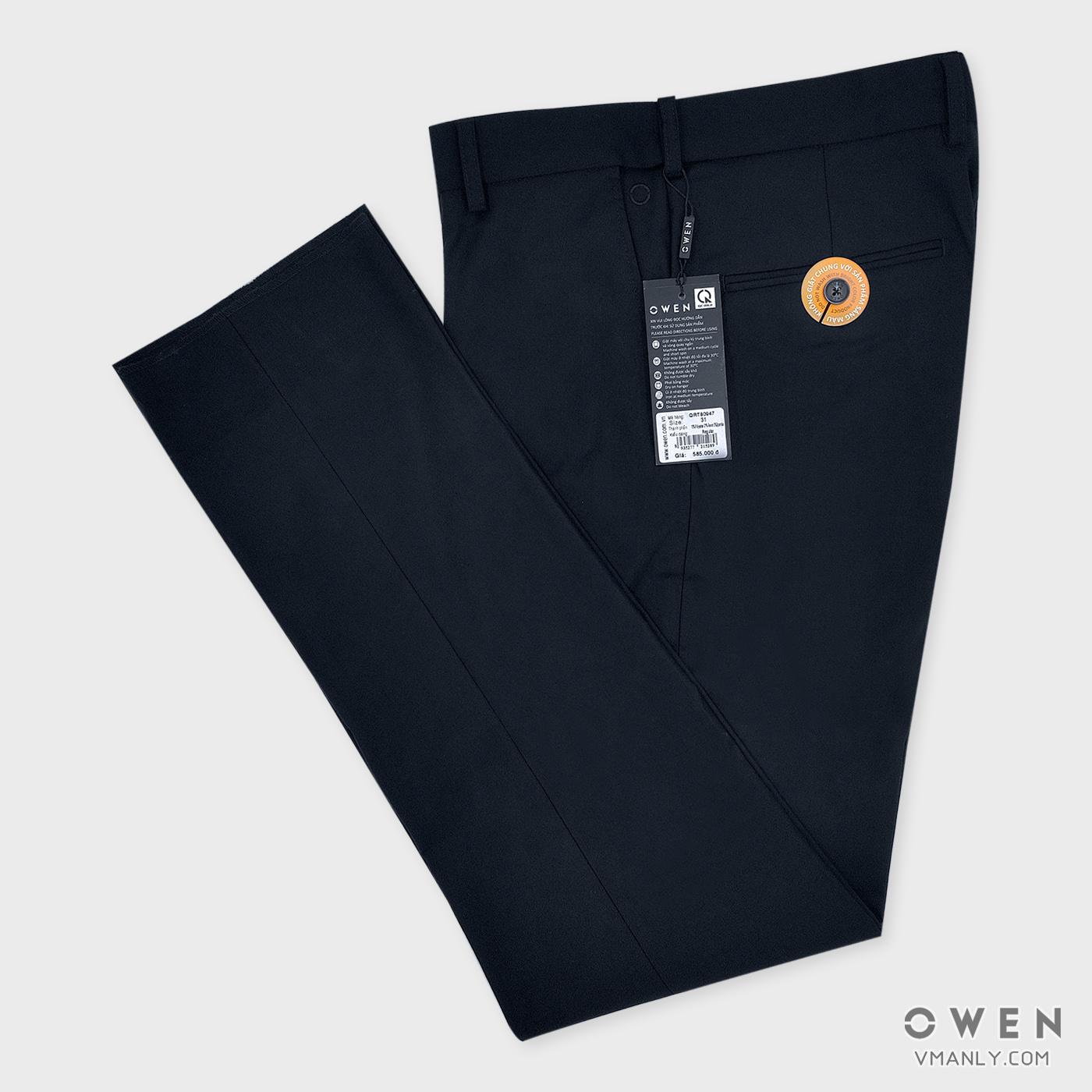 Quần tây Owen không li regular màu tím than QRT80947