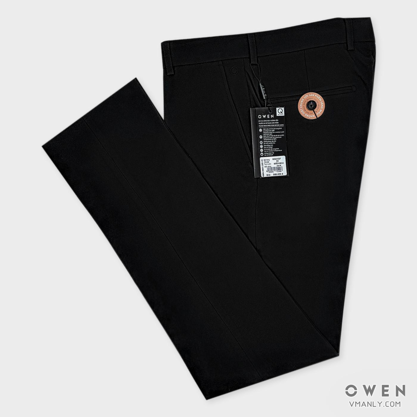 Quần tây Owen không li slimfit màu đen QS81537