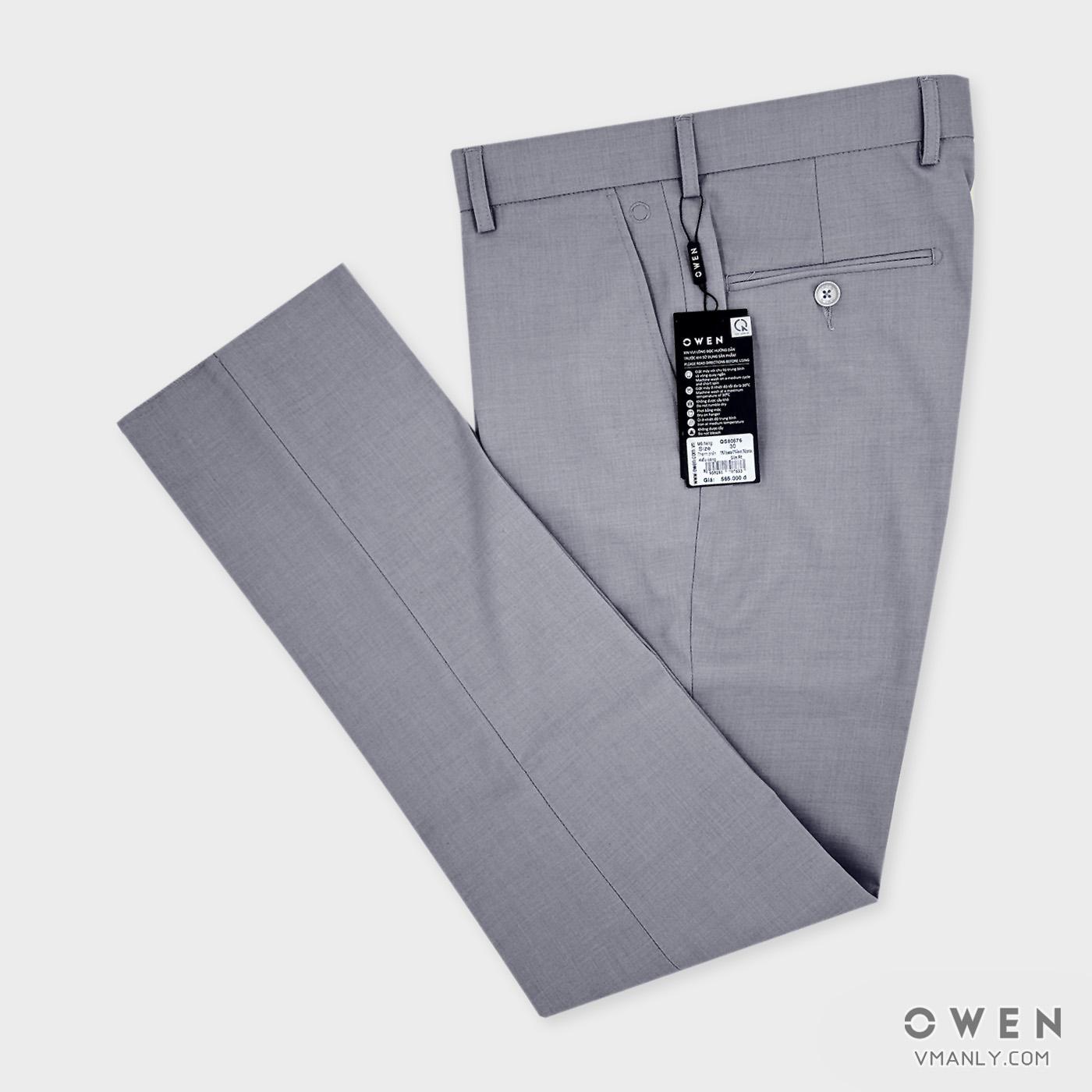 Quần tây Owen không li slimfit màu ghi QS80576