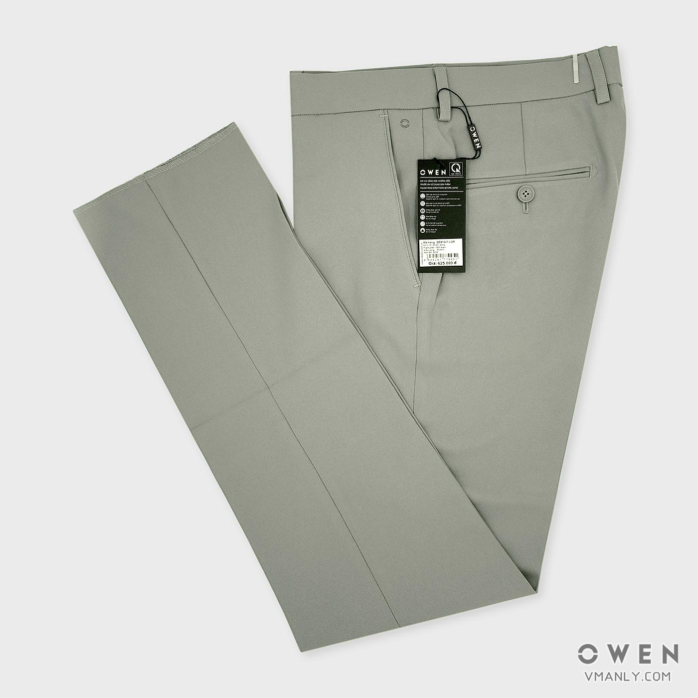 Quần tây Owen không li slim fit màu ghi sáng QS91247