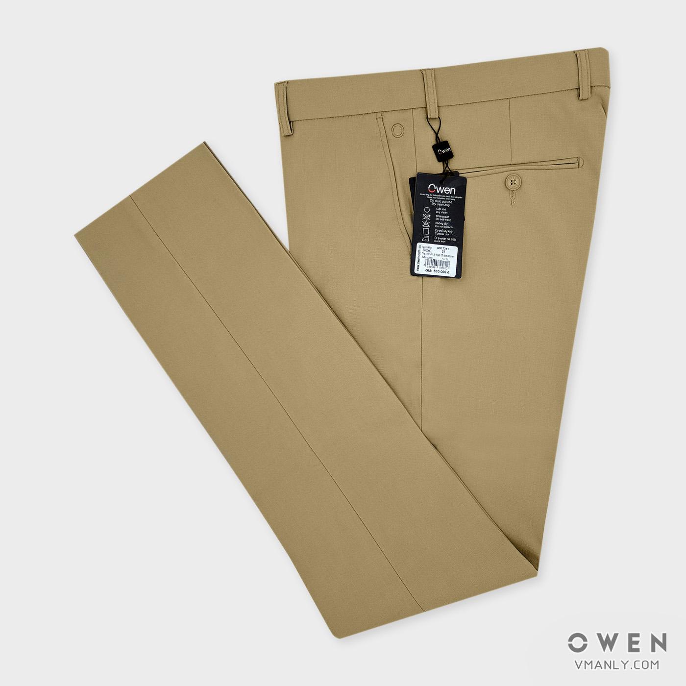 Quần tây Owen không li slimfit màu vàng nhạt QS17341