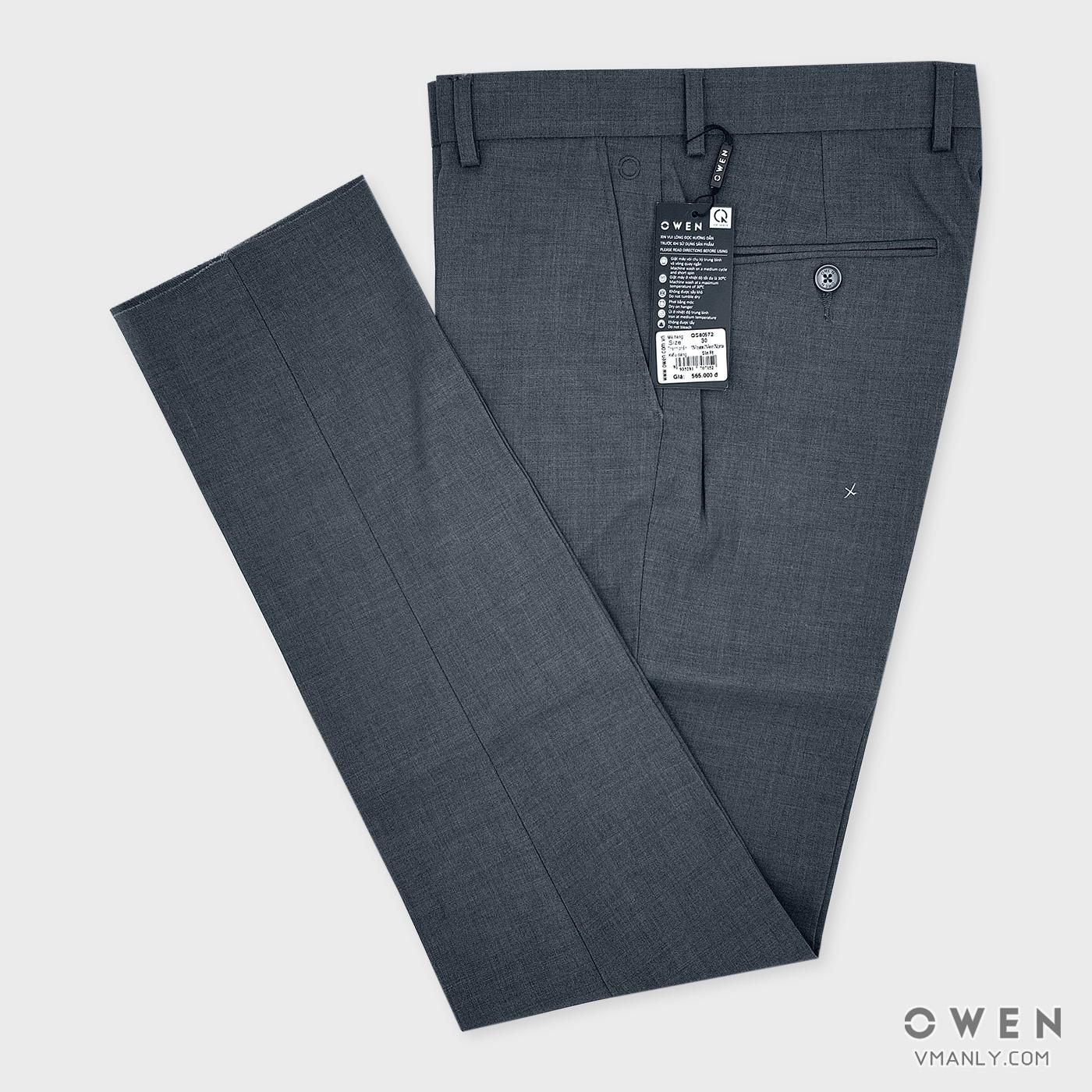 Quần tây Owen không li slim fit màu xám lông chuột QS80572