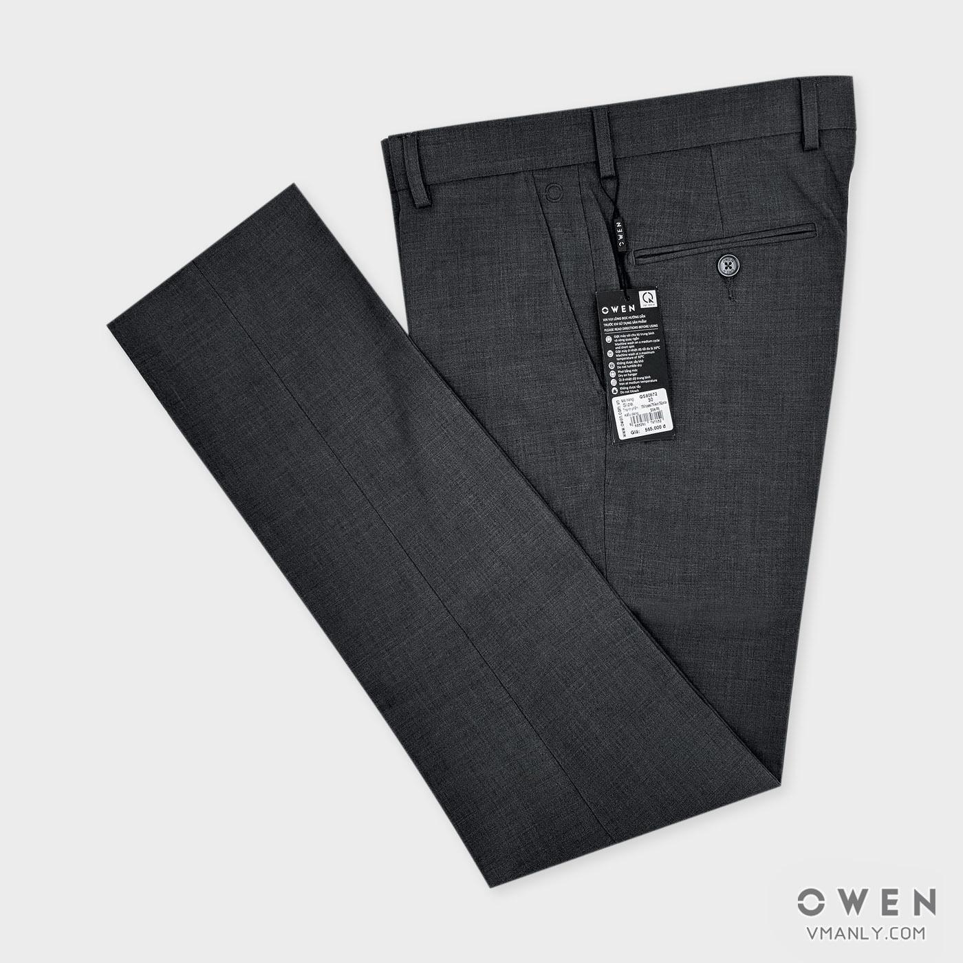 Quần tây Owen không li slimfit màu ghi lông chuột QS80572