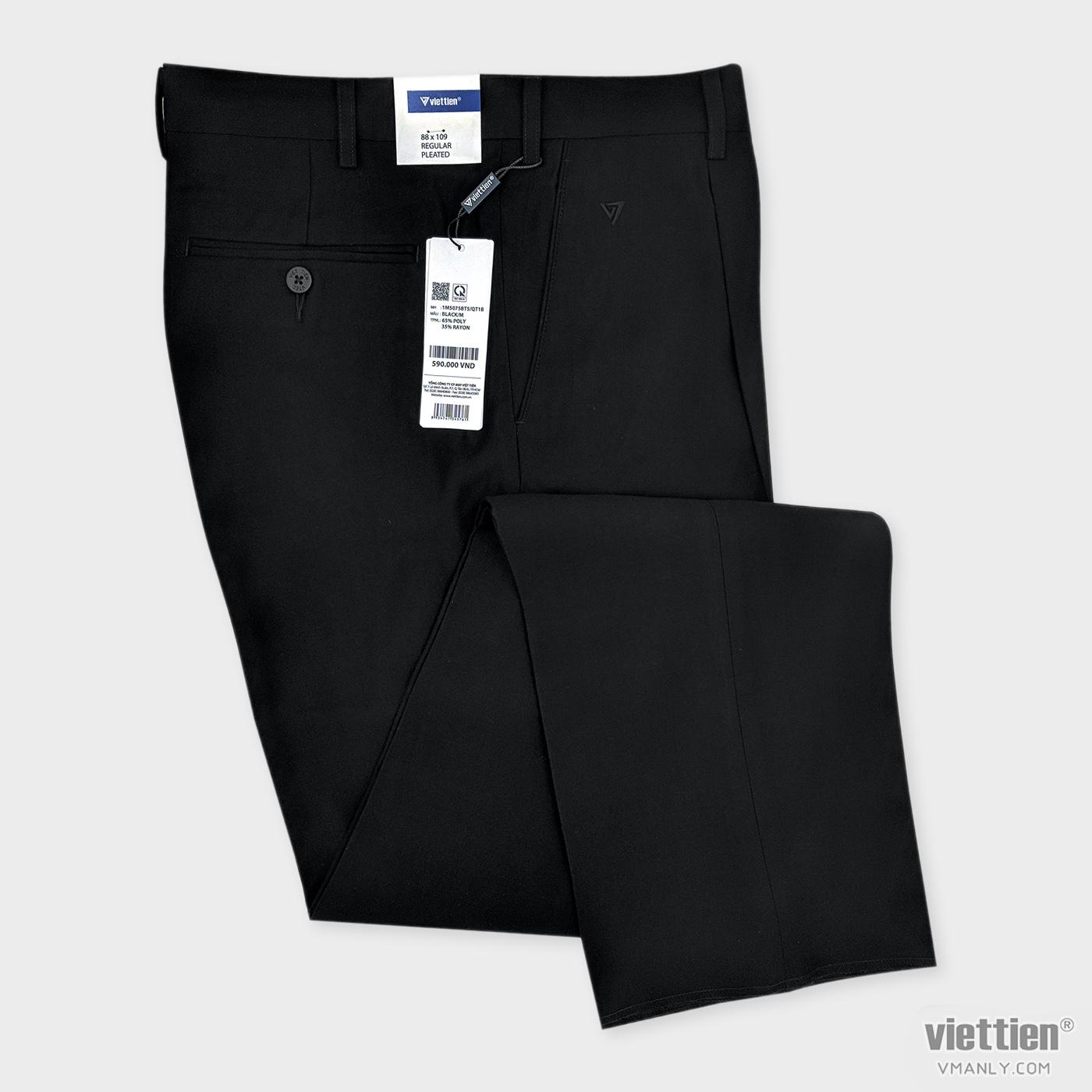 Quần tây Việt Tiến có li regular màu đen 1M5075BT5-QT1B