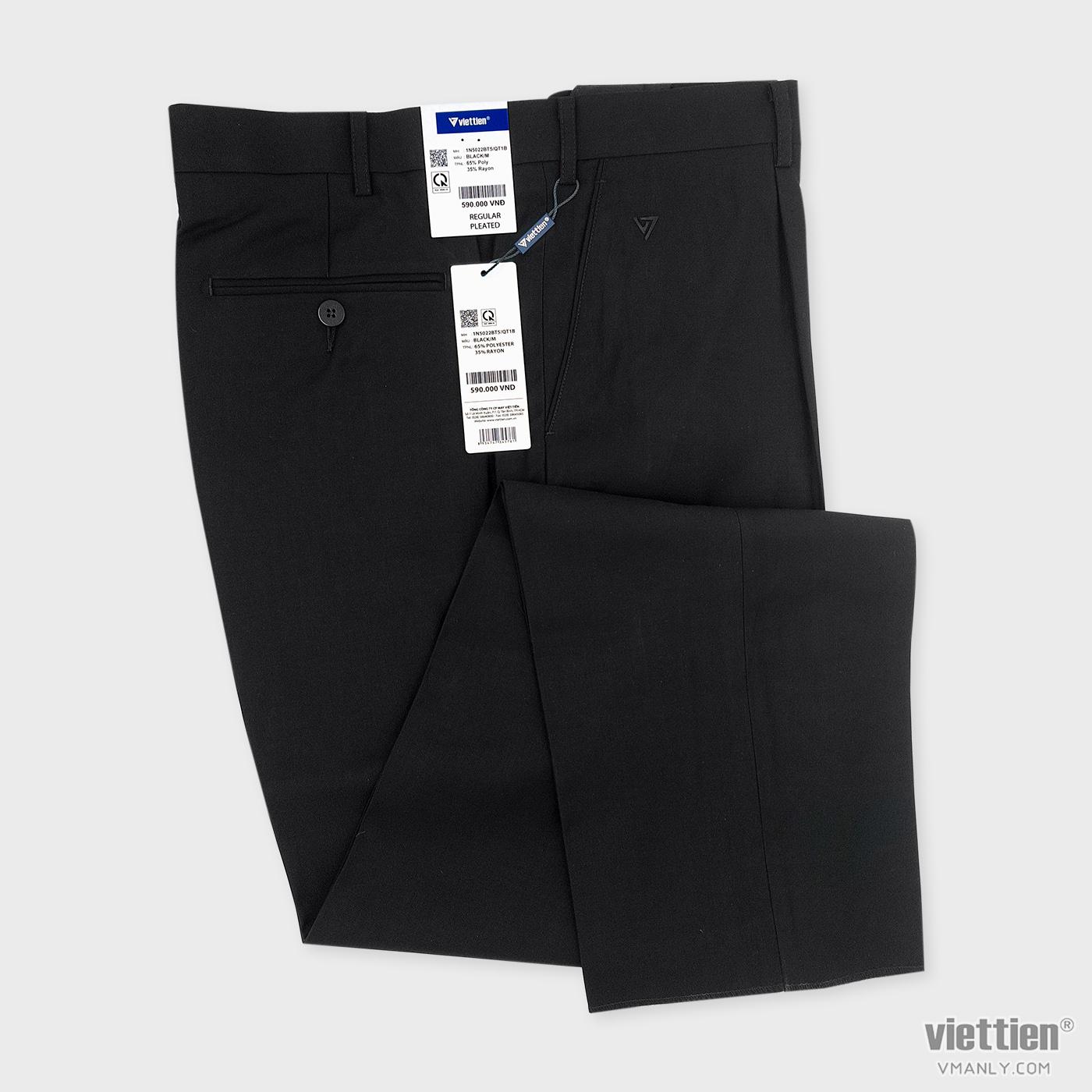 Quần tây Việt Tiến cỡ lớn có li regular màu đen 1N5022BT5/QT1B