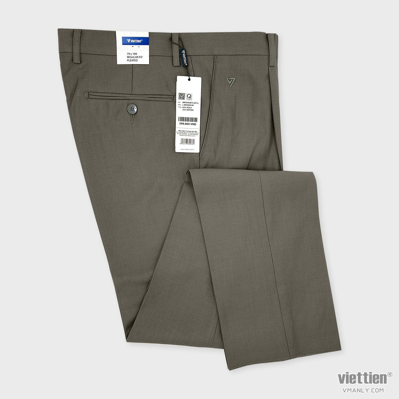 Quần tây Việt Tiến có li regular fit màu nâu sáng 8M5040BT5/QT1L