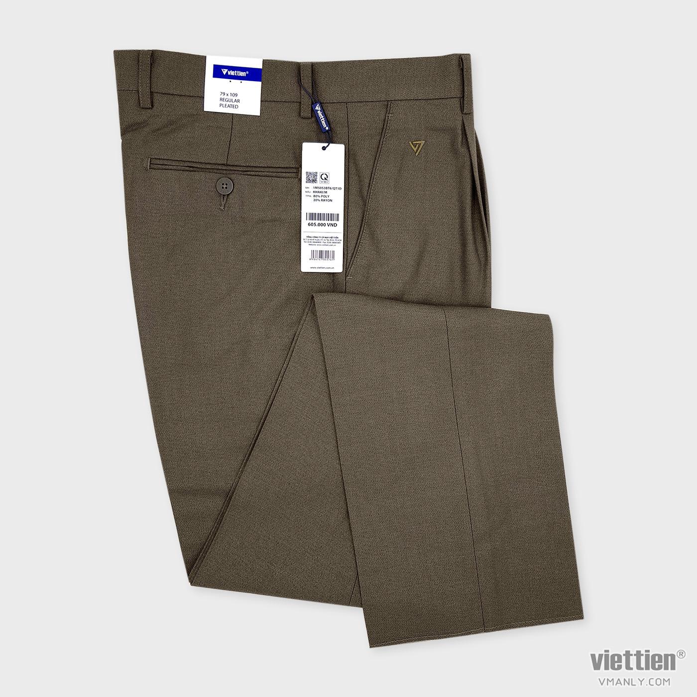 Quần tây Việt Tiến có li regular màu khaki 1M5053BT6/QT1D