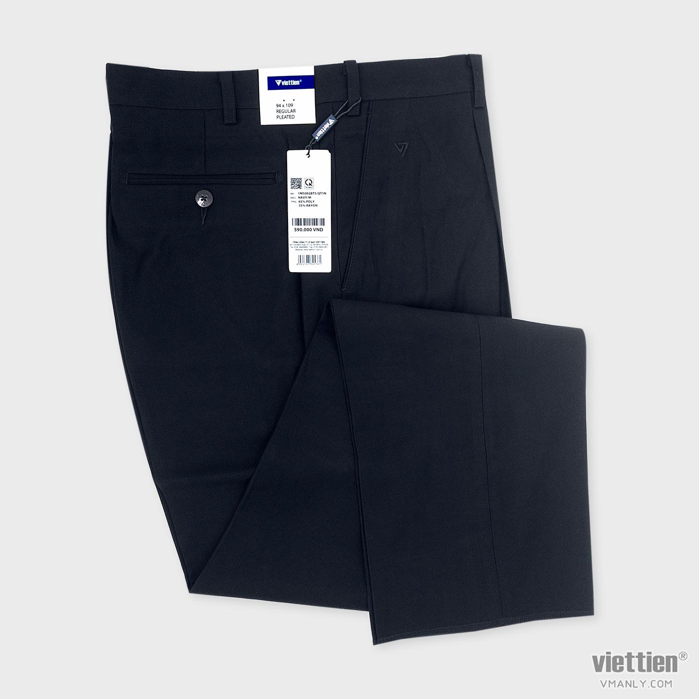 Quần tây Việt Tiến cỡ lớn có ly regular màu xanh navy 1M5092BT5/QT1N
