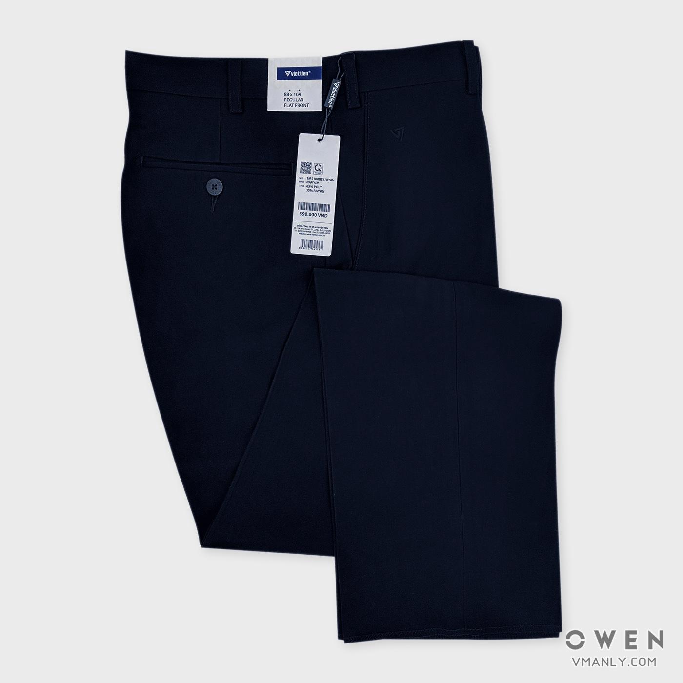 Quần tây Việt Tiến không li regular màu xanh navy 1M5100BT5-QT0N