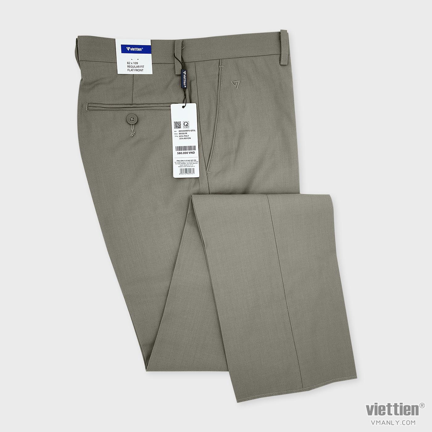 Quần tây Việt Tiến không li regular fit màu be 8M5009BT5QT0L