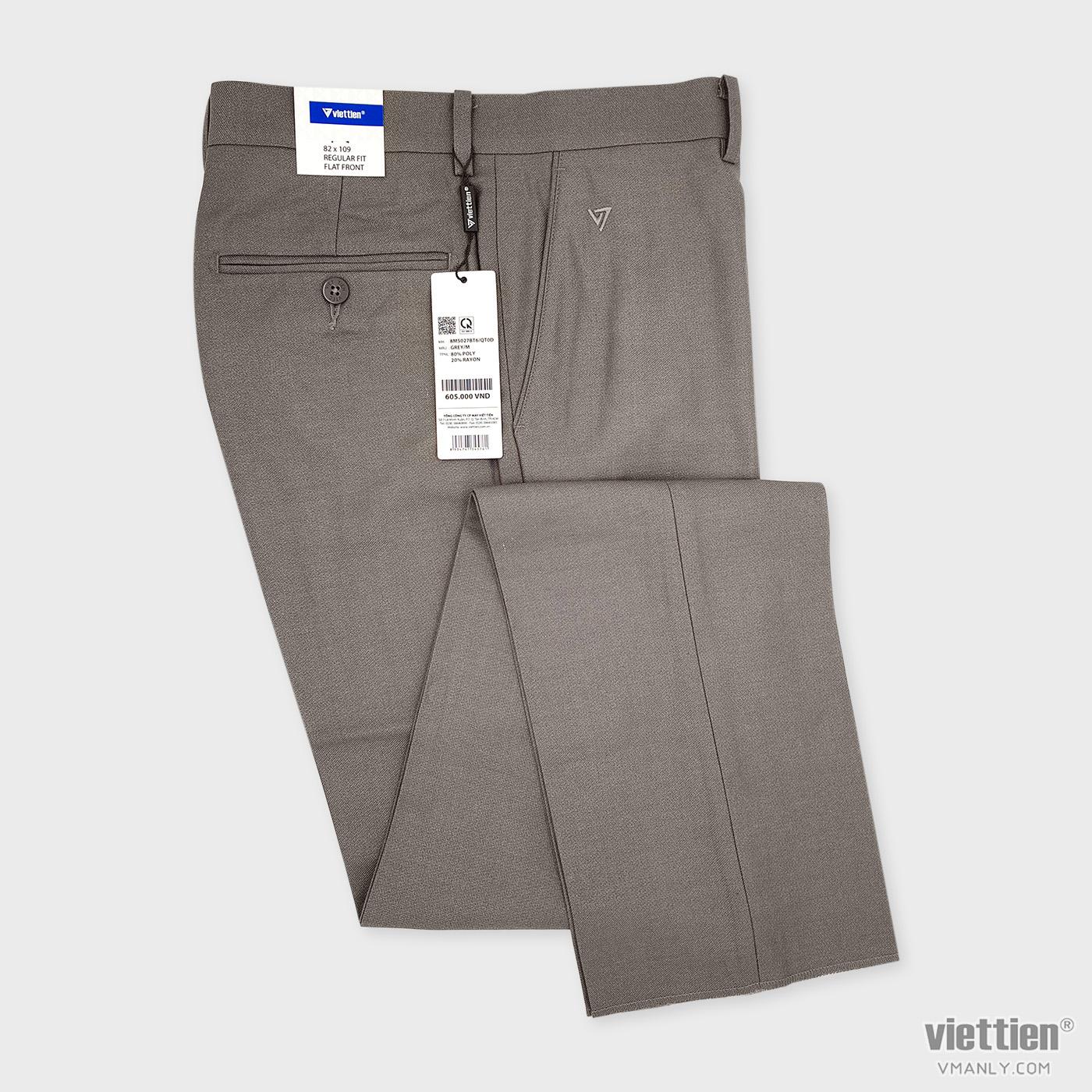 Quần tây Việt Tiến không li regular fit màu xám grey 8M5027BT6QT0D