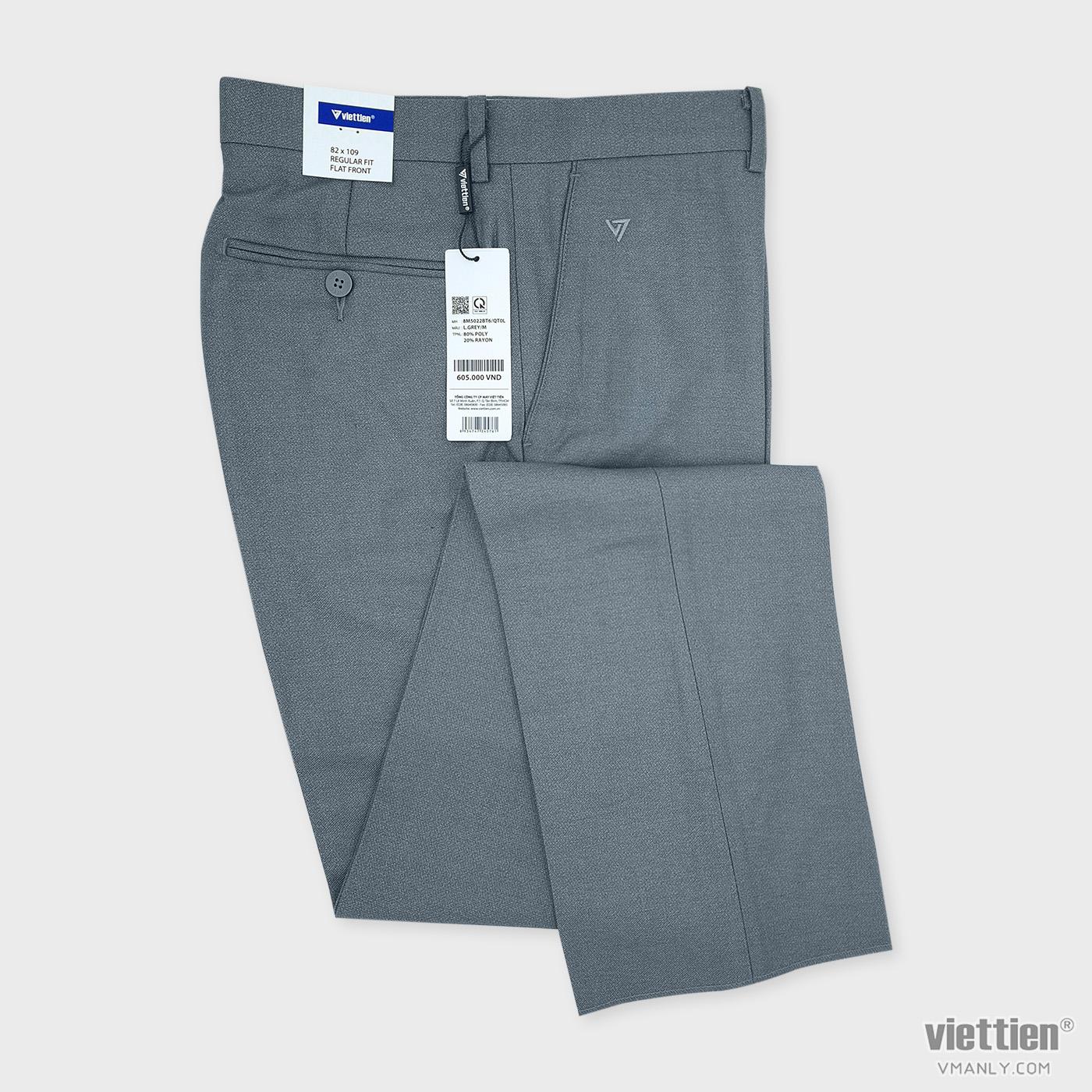 Quần tây Việt Tiến không li regular fit màu xám nhạt 8M5022BT6QT0L
