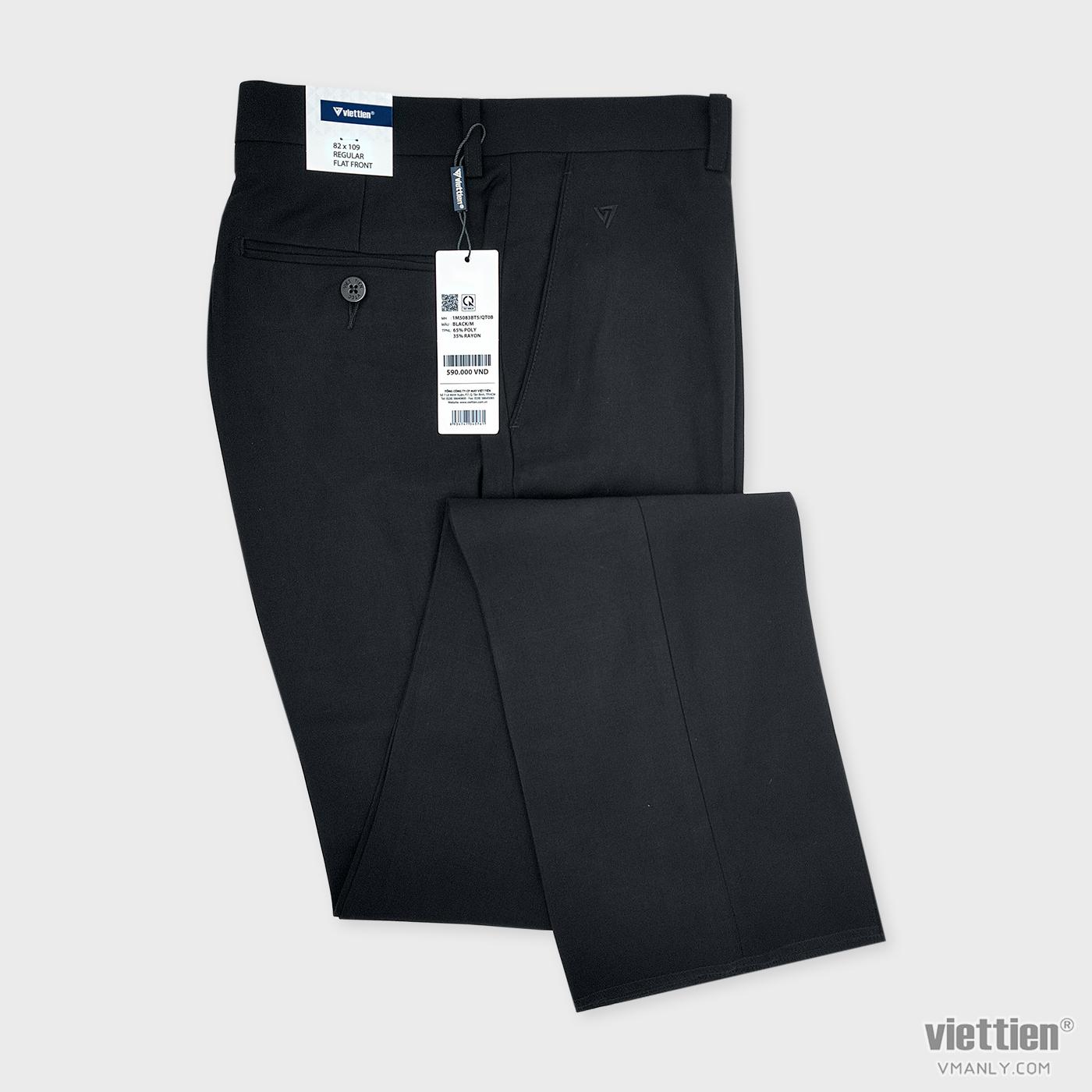 Quần tây Việt Tiến không li regular màu đen 1M5083BT5QT0B