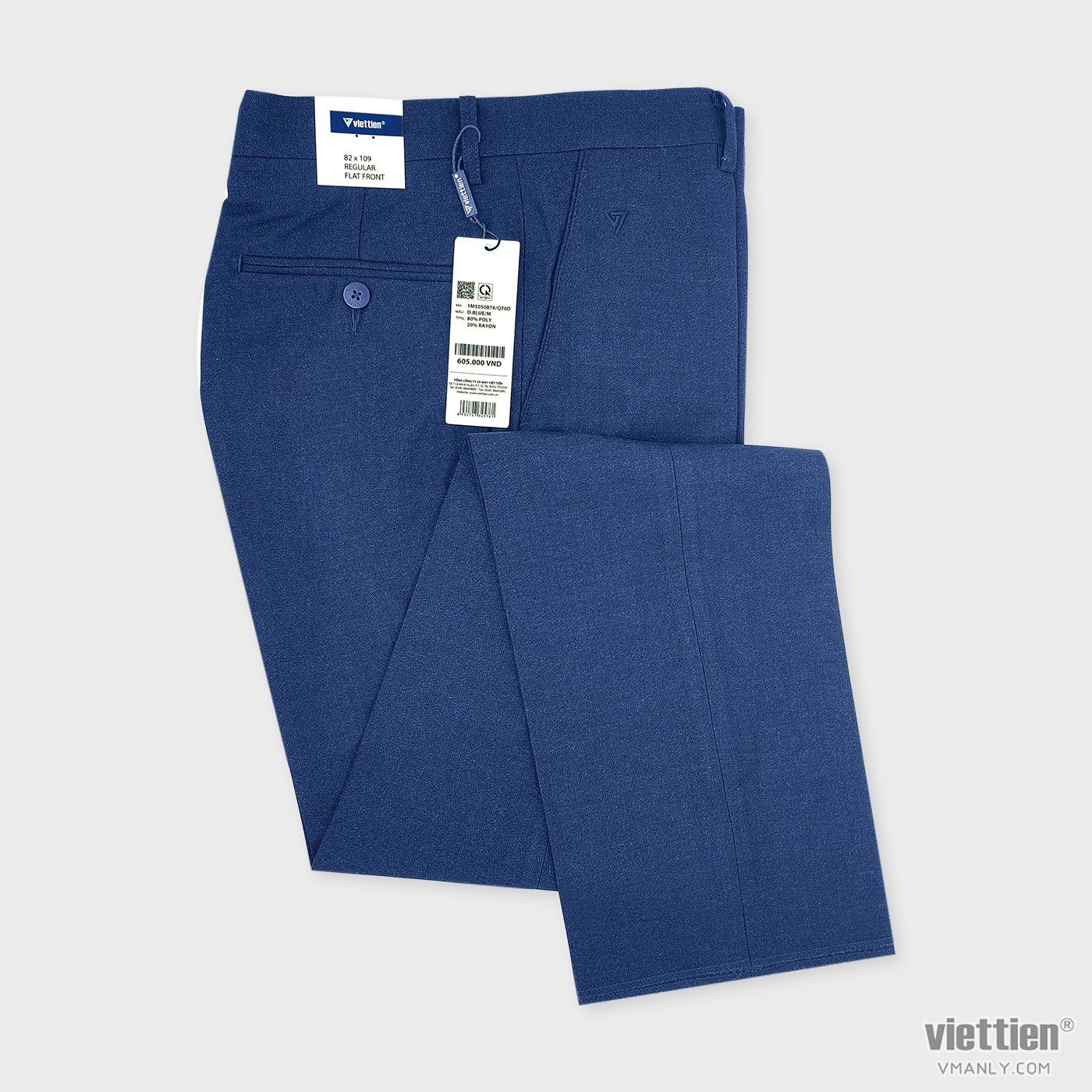 Quần tây Việt Tiến không li regular màu xanh blue 1M5050BT6QT0D