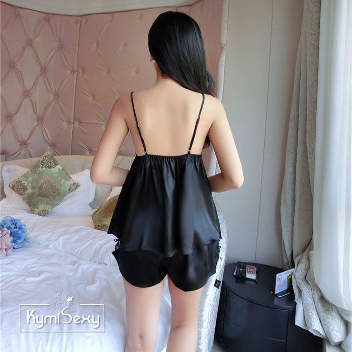 Bộ đồ phi lụa quần ngắn 2 dây viền ren ngực