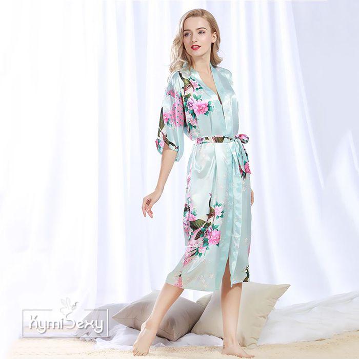 Áo choàng ngủ  nữ  phi lụa dáng dài hình hoa
