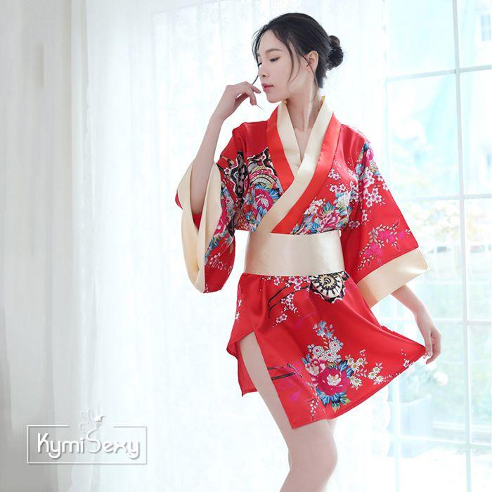 Áo ngủ phi lụa hoa kiểu Nhật