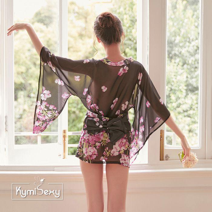 Áo ngủ voan lưới hoa kiểu Kimono