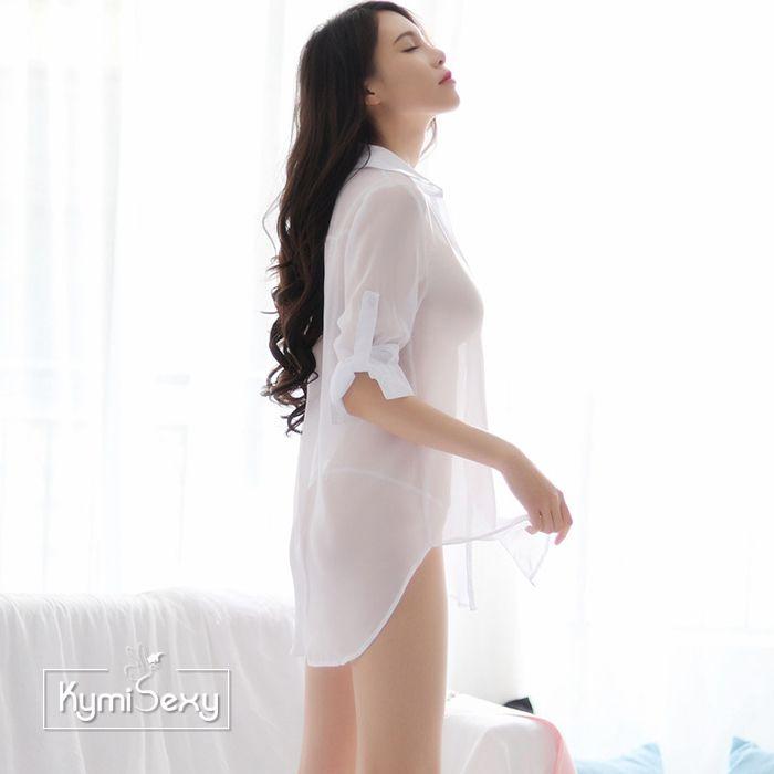 Áo ngủ  voan nữ kiểu sơ mi trắng