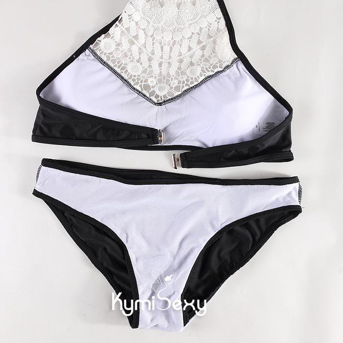 Bộ đồ bơi Bikini phối ren trắng