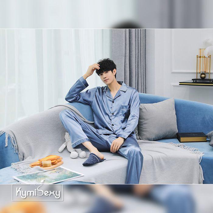 Bộ đồ ngủ nam  Pijama phi bóng viền đen