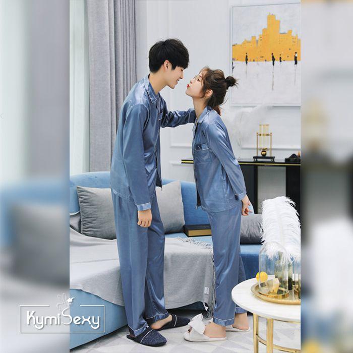 Bộ đồ ngủ nữ  Pijama phi bóng viền đen