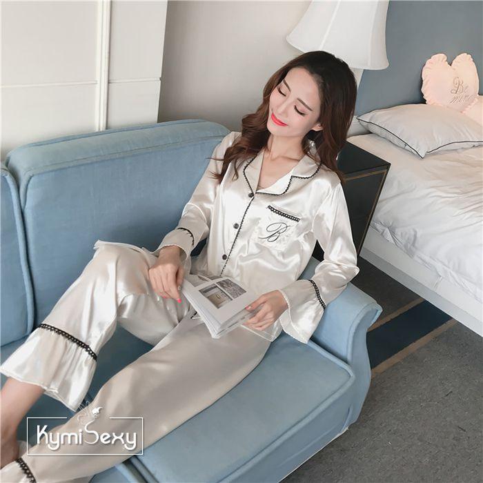 Bộ đồ ngủ phi bóng quần dài ống loe