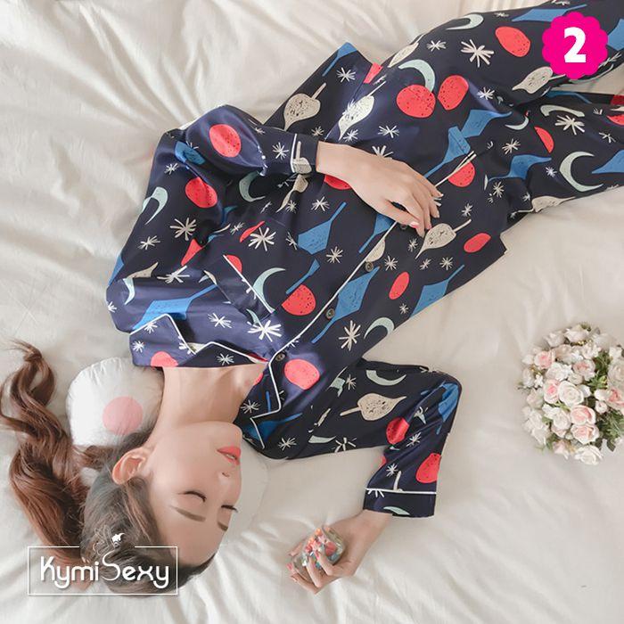 Bộ đồ ngủ phi lụa quần dài nhiều hình