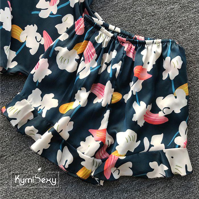Bộ đồ voan hoa nữ mặc nhà 2 dây