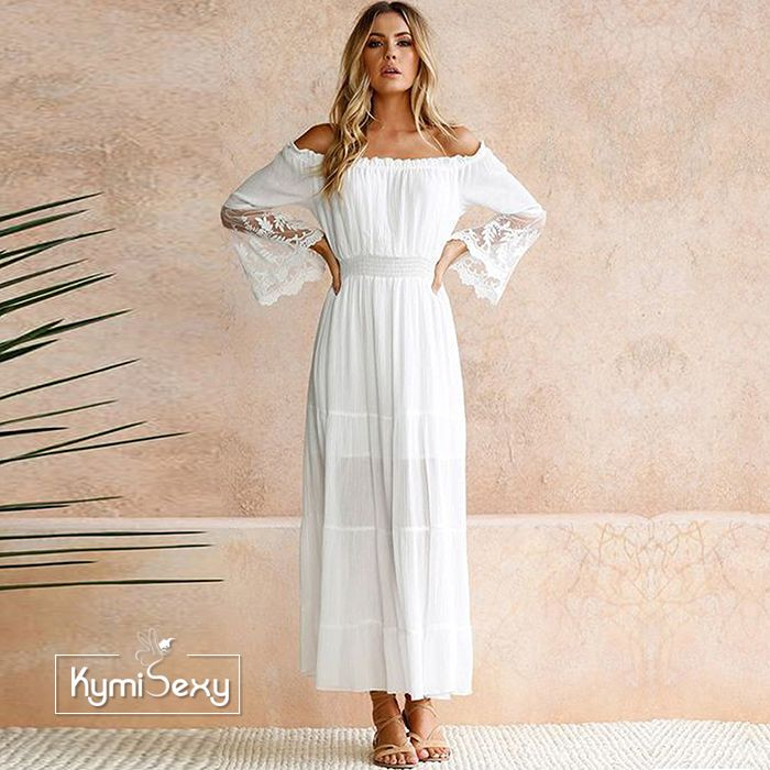 Đầm Maxi trắng trễ vai