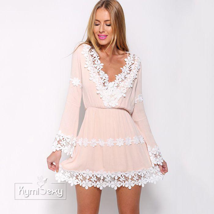 Đầm nữ tay dài phối ren trắng