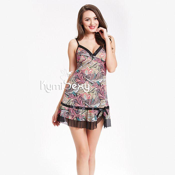 Đầm thun nữ 2 dây họa tiết sắc màu