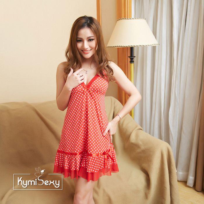 Đầm thun nữ đỏ chấm bi trắng