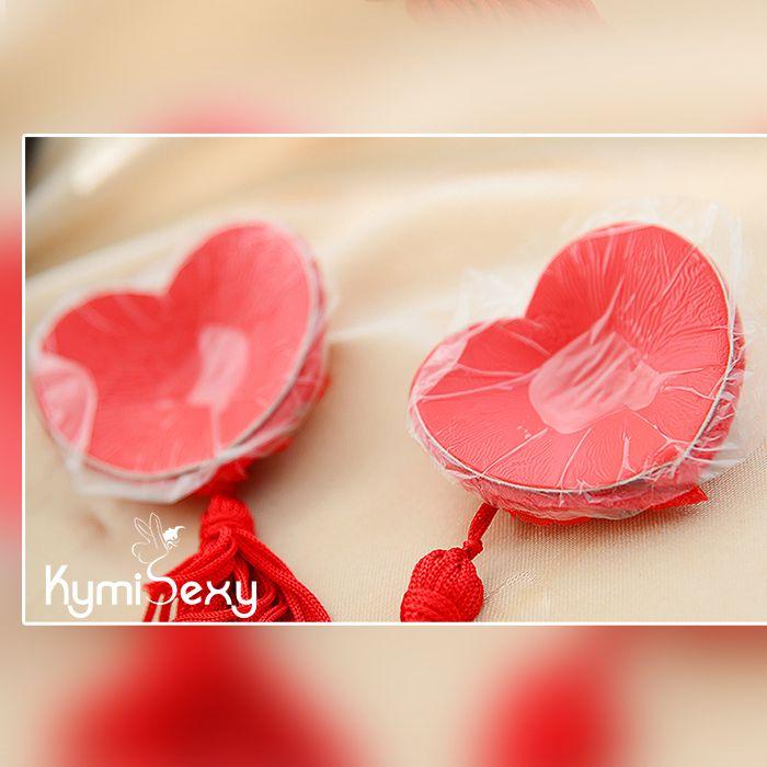 Miếng dán che nhũ trái tim ren hoa