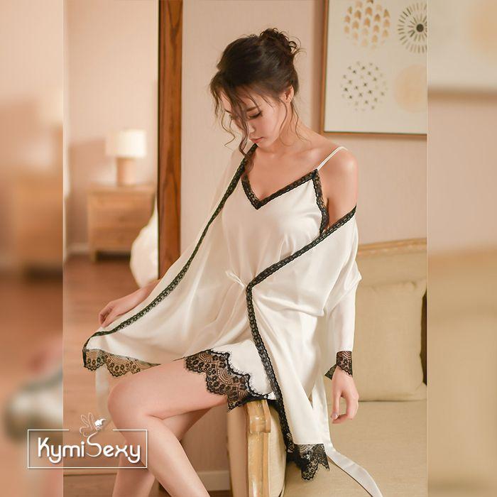 Set đầm ngủ lụa áo 2 kèm áo choàng viền ren đen